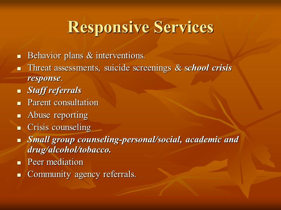 Responsive Services Behavior plans & interventions. Behavior plans & interventions. Threat assessments, suicide screenings & school crisis response. T