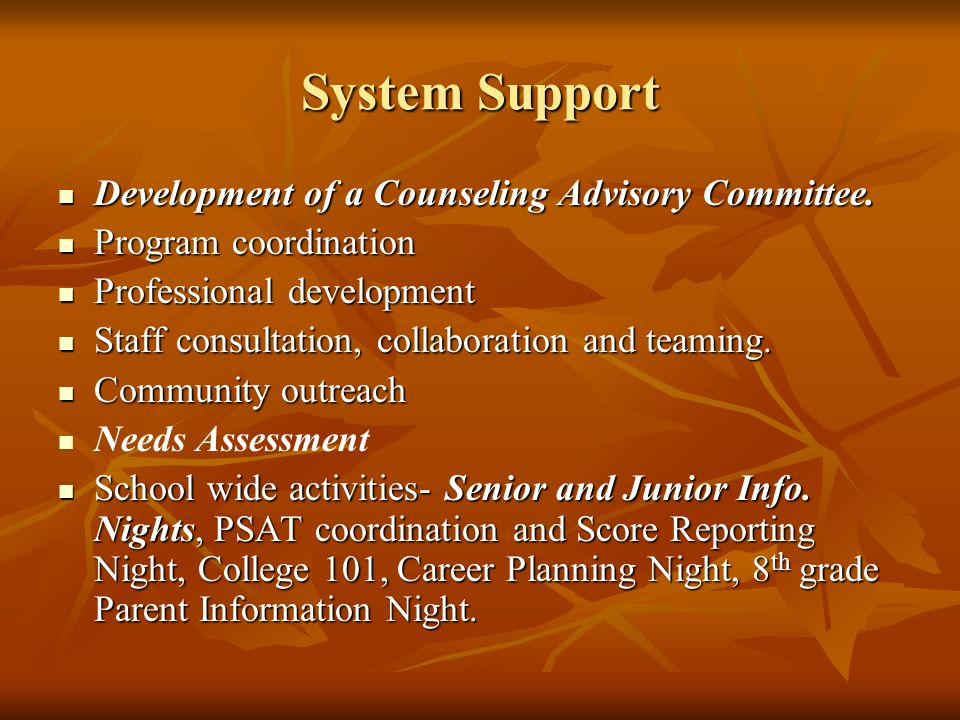 System Support Development of a Counseling Advisory Committee. Development of a Counseling Advisory Committee. Program coordination Program coordinati
