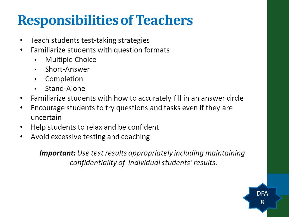 Responsibilities of Teachers Teach students test-taking strategies Familiarize students with question formats Multiple Choice Short-Answer Completion Stand-Alone Familiarize students with how to accurately fill in an answer circle Encourage students to try questions and tasks even if they are uncertain Help students to relax and be confident Avoid excessive testing and coaching Important: Use test results appropriately including maintaining confidentiality of individual students results.