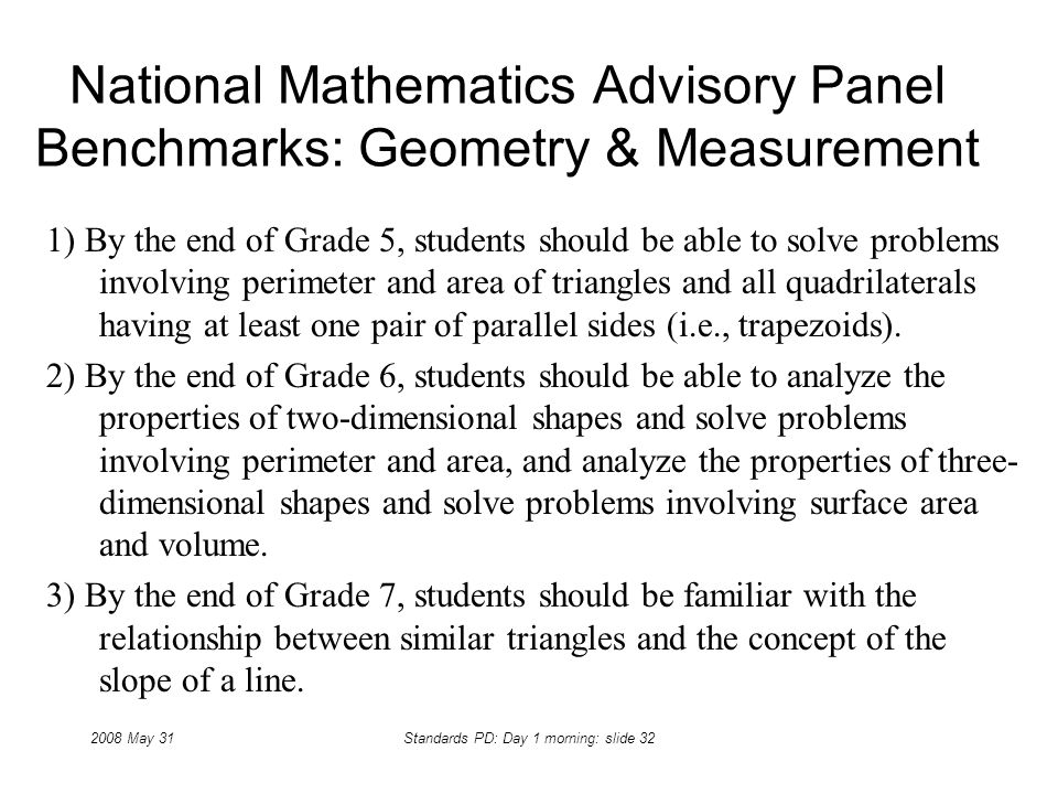 2008 May 31Standards PD: Day 1 morning: slide 32 National Mathematics Advisory Panel Benchmarks: Geometry & Measurement 1) By the end of Grade 5, stud