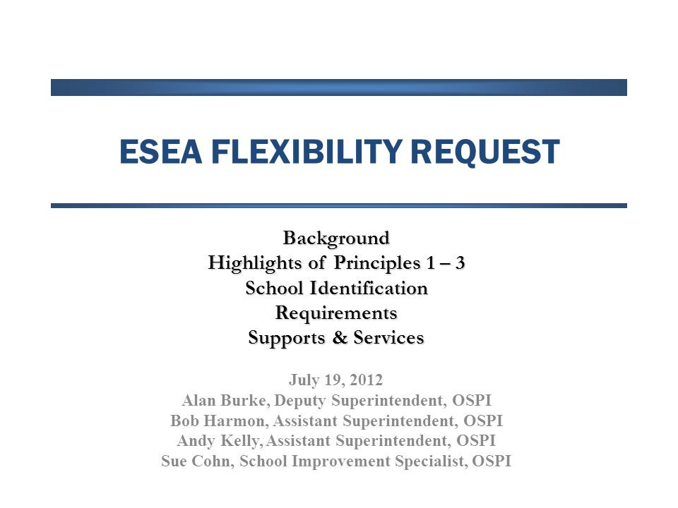 ESEA Flexibility Schools identified for Priority or Focus status based on their mathematics and reading (combined) performance must meet all three of the following criteria: Priority: Increase performance in reading and mathematics in the all students groups and all subgroups so that for 3 consecutive years, the school (a) meets or exceeds its AMOs, (b) has at least a 95% participation rate for each group, and (c) is no longer in the bottom 5% of the states Priority list; Focus: Increase performance in reading and mathematics in the identified subgroup(s) so that for 3 consecutive years, the school (a) meets or exceeds its AMOs, (b) has at least a 95% participation rate for each group, and (c) is no longer in the bottom 10% of the states Focus list; Decrease the percentage of students scoring at Level 1 or Level 2 on state assessments in reading and mathematics over a 3-year period.