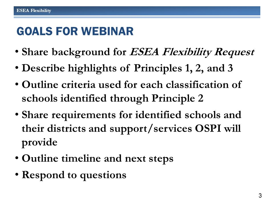 ESEA Flexibility Share background for ESEA Flexibility Request Describe highlights of Principles 1, 2, and 3 Outline criteria used for each classification of schools identified through Principle 2 Share requirements for identified schools and their districts and support/services OSPI will provide Outline timeline and next steps Respond to questions GOALS FOR WEBINAR 3