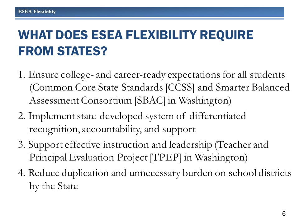 ESEA Flexibility WHAT DOES ESEA FLEXIBILITY PROVIDE FOR STATES.