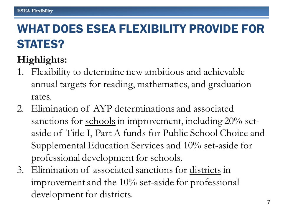 ESEA Flexibility Set Ambitious but Achievable Annual Measurable Objectives (AMOs) NEW Annual Measurable Objectives (Targets): Cut Proficiency Gap by Half by 2017 Sample High School - 10 th Grade Reading 18 Proficiency Gap
