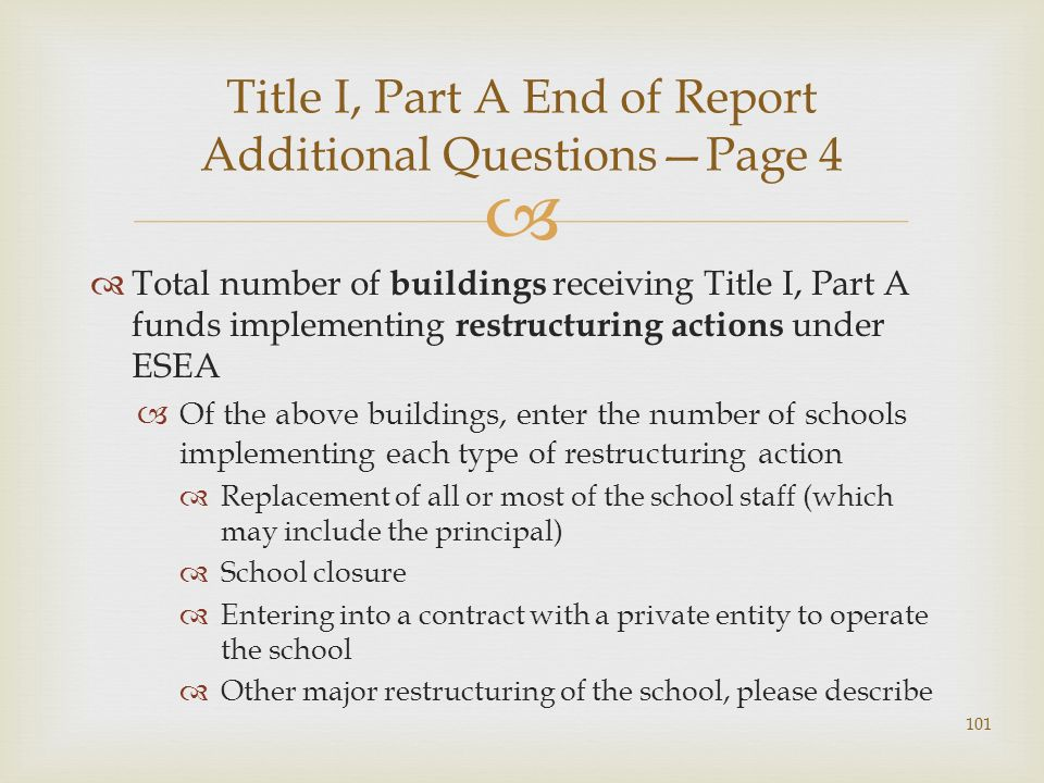 Total number of buildings receiving Title I, Part A funds implementing restructuring actions under ESEA Of the above buildings, enter the number of sc