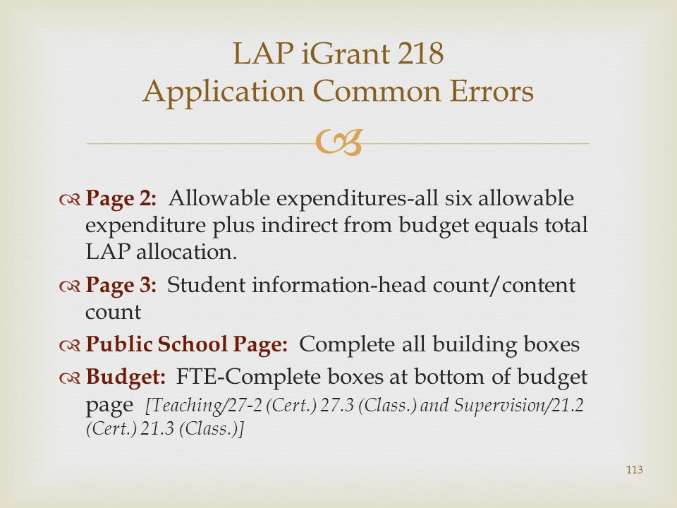 Page 2: Allowable expenditures-all six allowable expenditure plus indirect from budget equals total LAP allocation. Page 3: Student information-head c