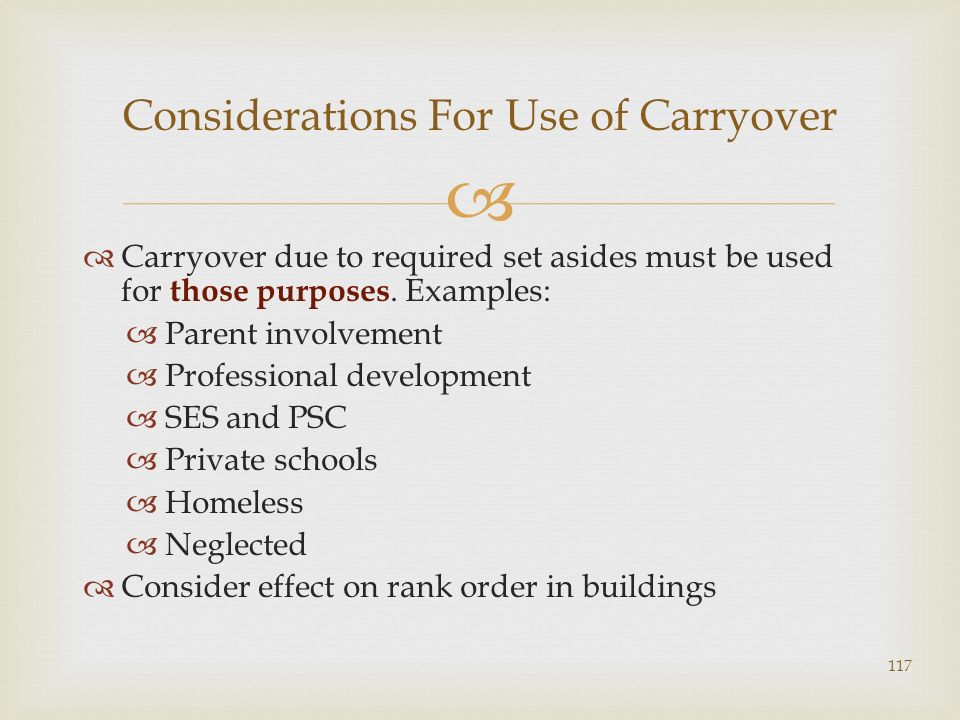 Carryover due to required set asides must be used for those purposes. Examples: Parent involvement Professional development SES and PSC Private school