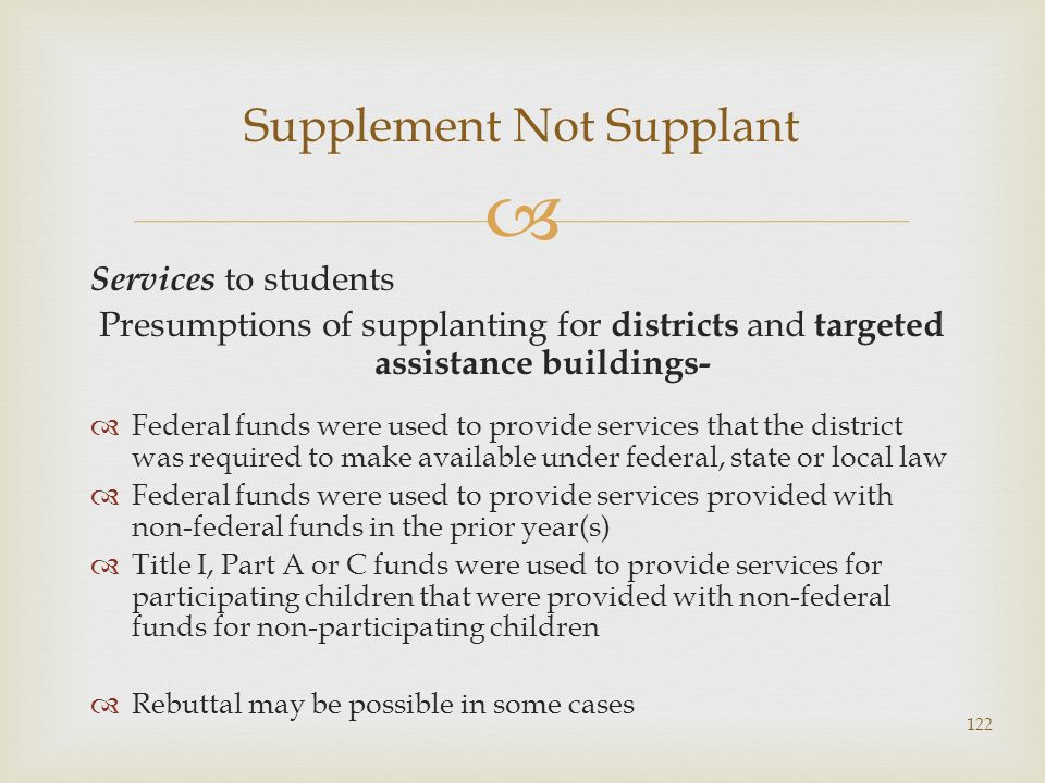 Services to students Presumptions of supplanting for districts and targeted assistance buildings- Federal funds were used to provide services that the
