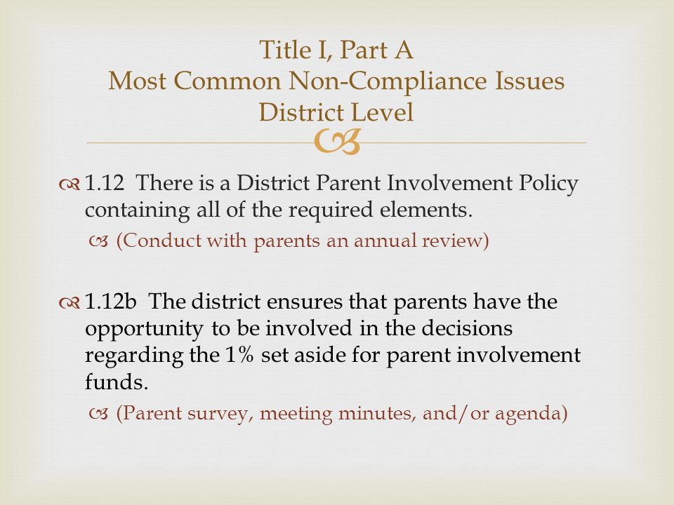 1.12 There is a District Parent Involvement Policy containing all of the required elements. (Conduct with parents an annual review) 1.12b The district