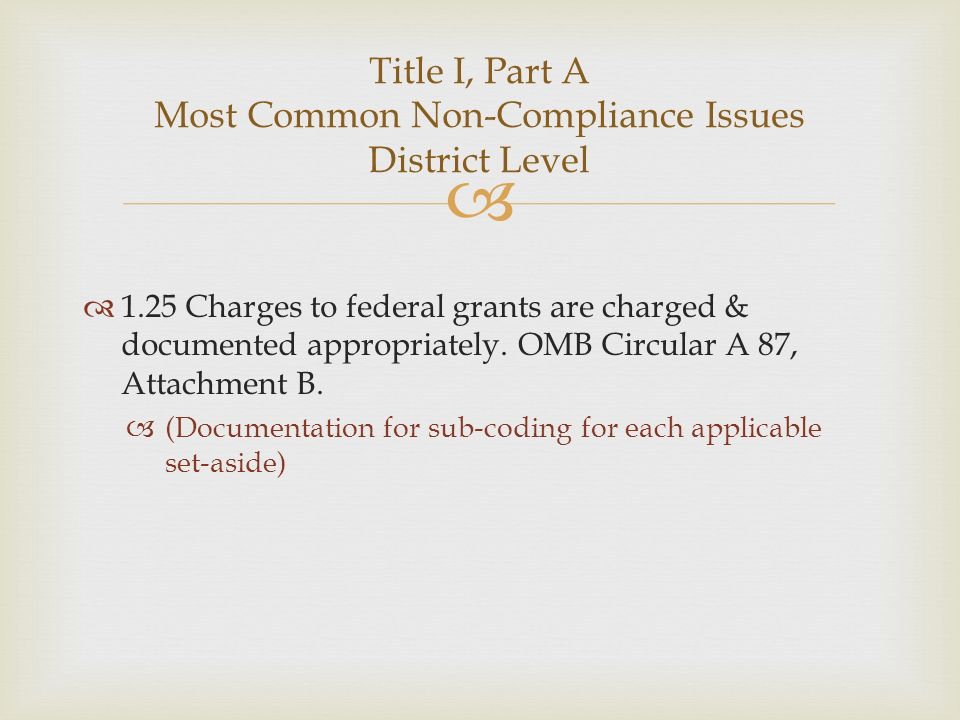 1.25 Charges to federal grants are charged & documented appropriately. OMB Circular A 87, Attachment B. (Documentation for sub-coding for each applica