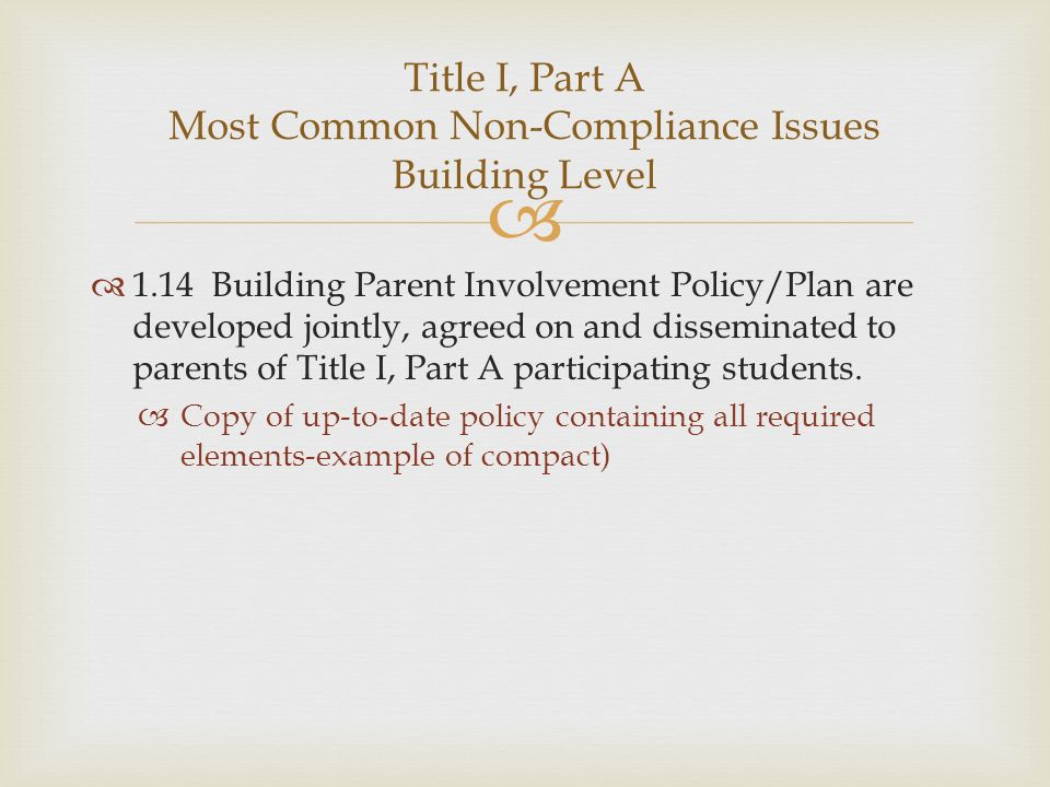 1.14 Building Parent Involvement Policy/Plan are developed jointly, agreed on and disseminated to parents of Title I, Part A participating students. C
