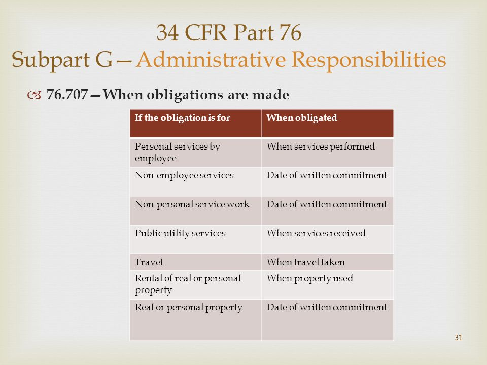 31 34 CFR Part 76 Subpart GAdministrative Responsibilities 76.707When obligations are made If the obligation is forWhen obligated Personal services by