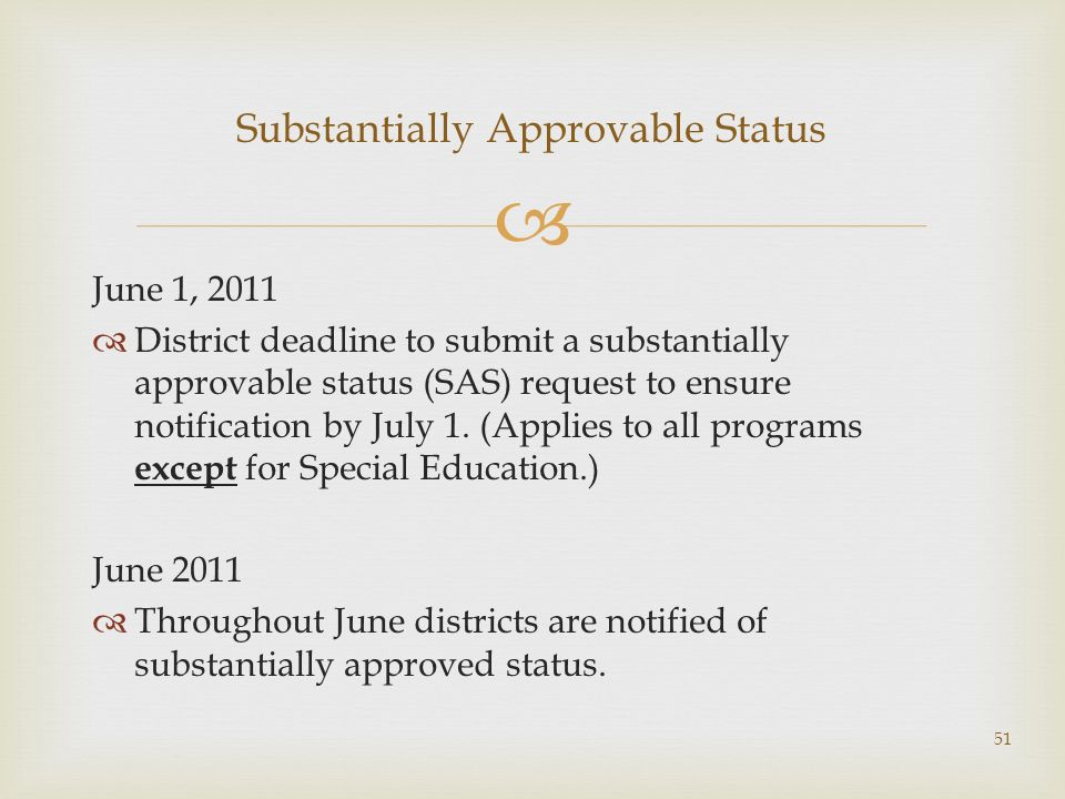 June 1, 2011 District deadline to submit a substantially approvable status (SAS) request to ensure notification by July 1. (Applies to all programs ex