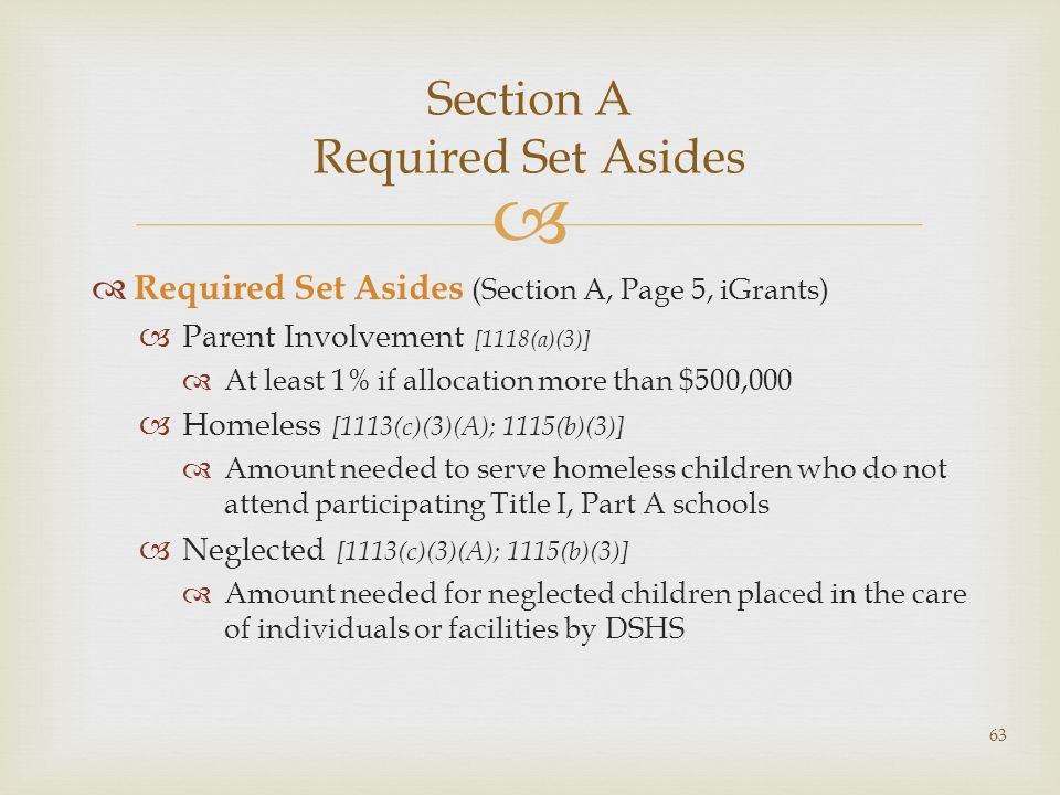 Section A Required Set Asides Required Set Asides (Section A, Page 5, iGrants) Parent Involvement [1118(a)(3)] At least 1% if allocation more than $50