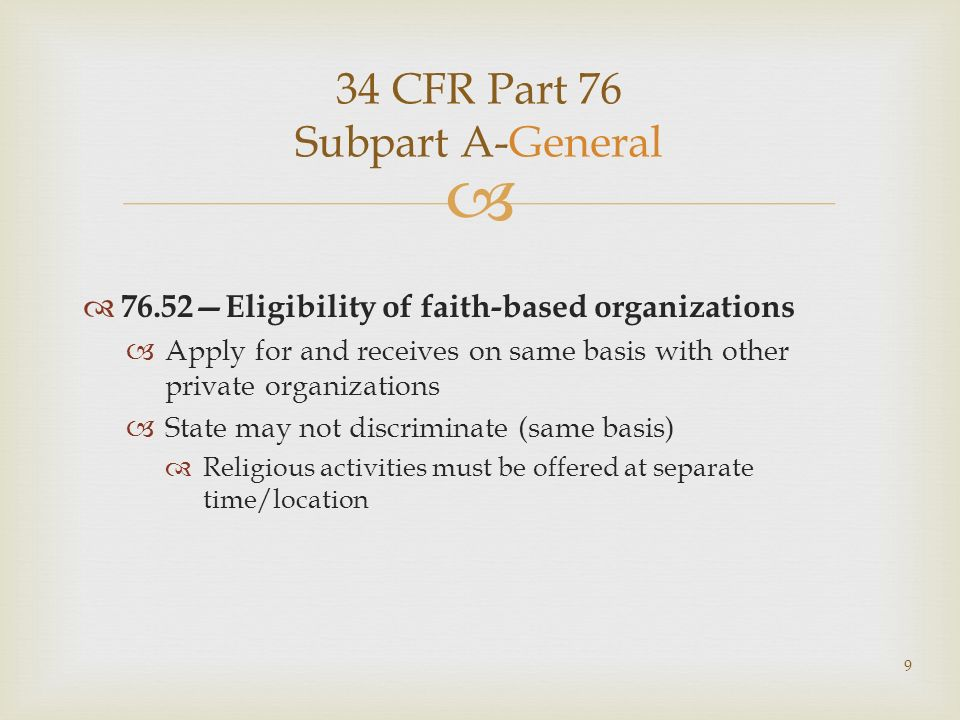 34 CFR Part 76 Subpart A-General 76.52Eligibility of faith-based organizations Apply for and receives on same basis with other private organizations S