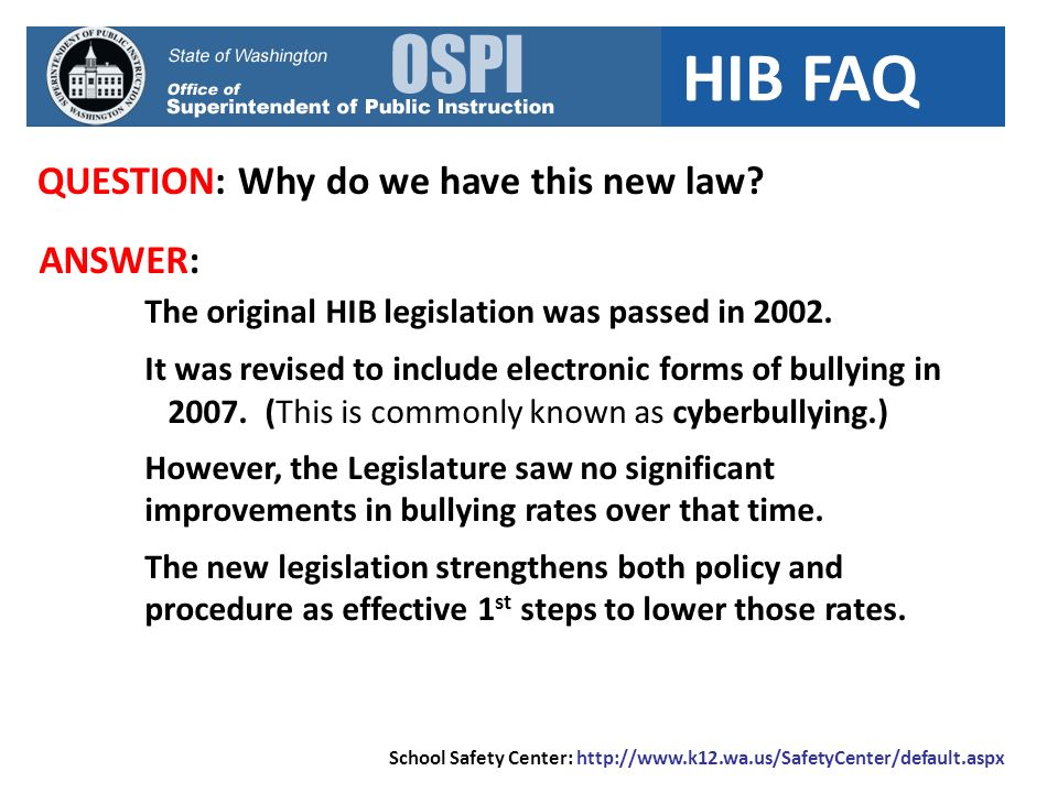 HIB FAQ QUESTION: Once an aggressor has been disciplined, is the school done.