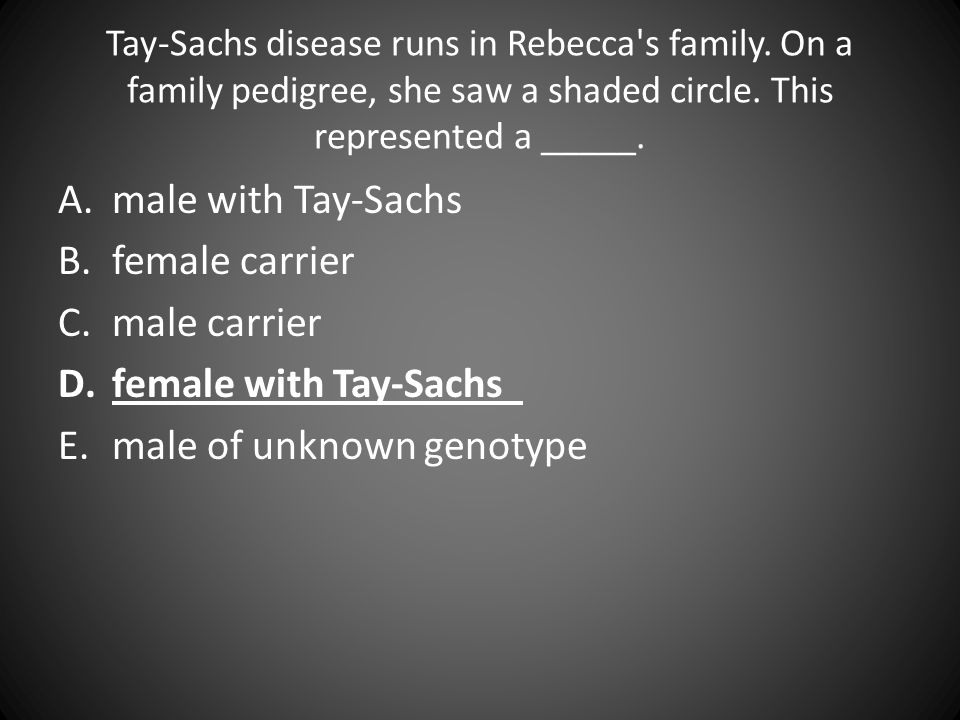 Tay-Sachs disease runs in Rebecca's family. On a family pedigree, she saw a shaded circle. This represented a _____. A.male with Tay-Sachs B.female ca