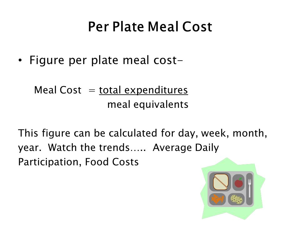 Per Plate Meal Cost Figure per plate meal cost- Meal Cost = total expenditures meal equivalents This figure can be calculated for day, week, month, ye
