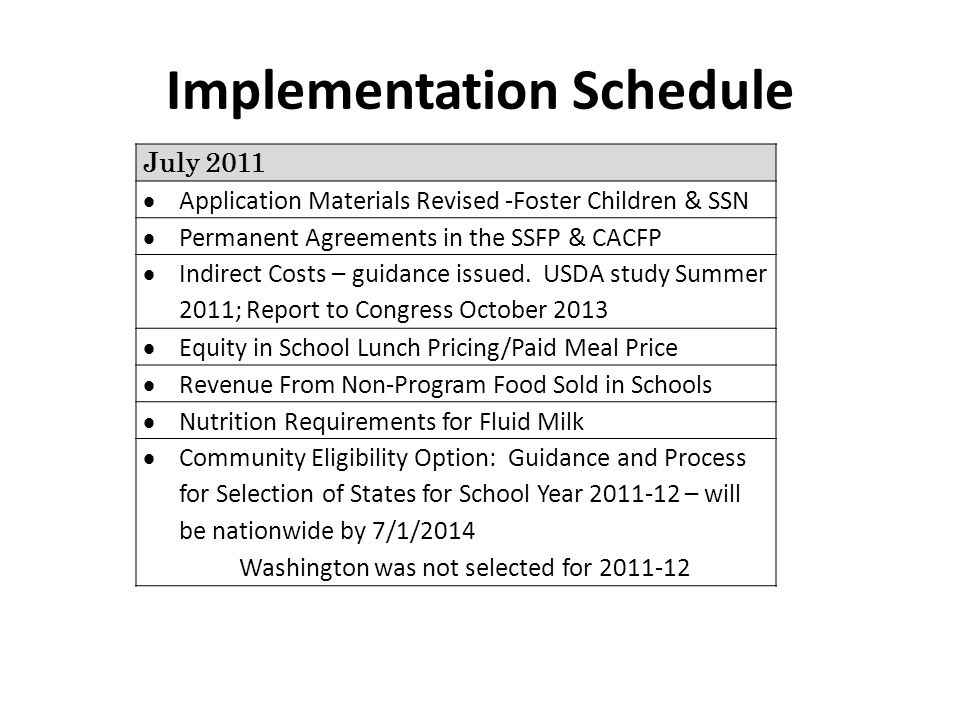 July 2011 Application Materials Revised -Foster Children & SSN Permanent Agreements in the SSFP & CACFP Indirect Costs – guidance issued.