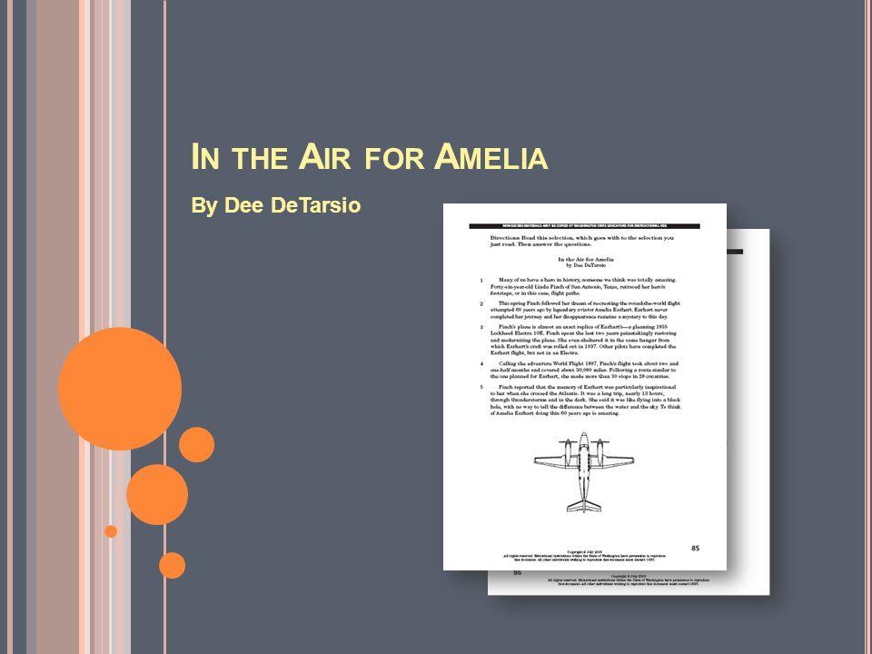 I N THE A IR FOR A MELIA By Dee DeTarsio