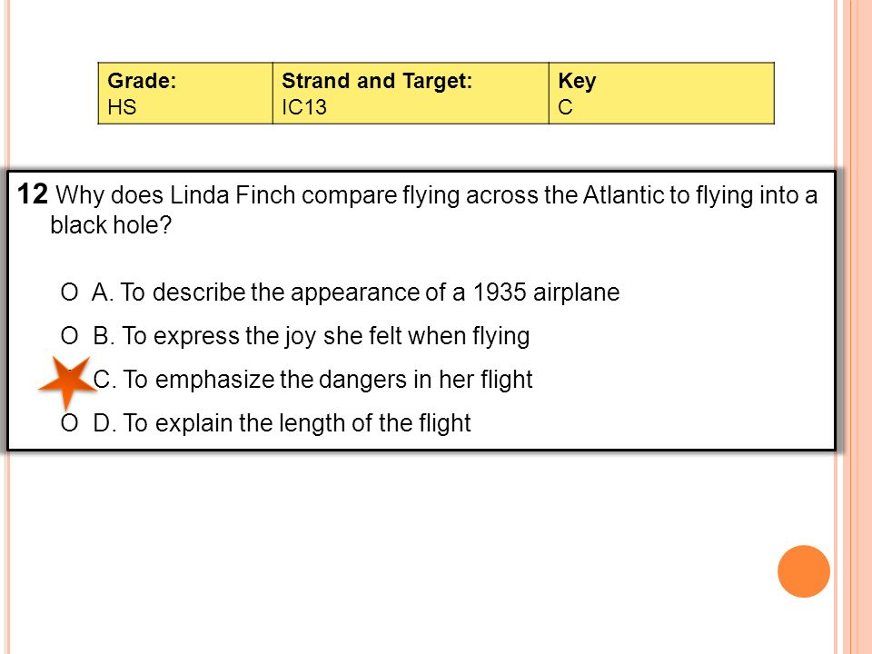 12 Why does Linda Finch compare flying across the Atlantic to flying into a black hole? O A. To describe the appearance of a 1935 airplane O B. To exp
