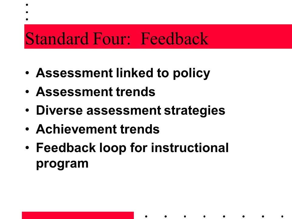 Standard Four: Feedback Assessment linked to policy Assessment trends Diverse assessment strategies Achievement trends Feedback loop for instructional