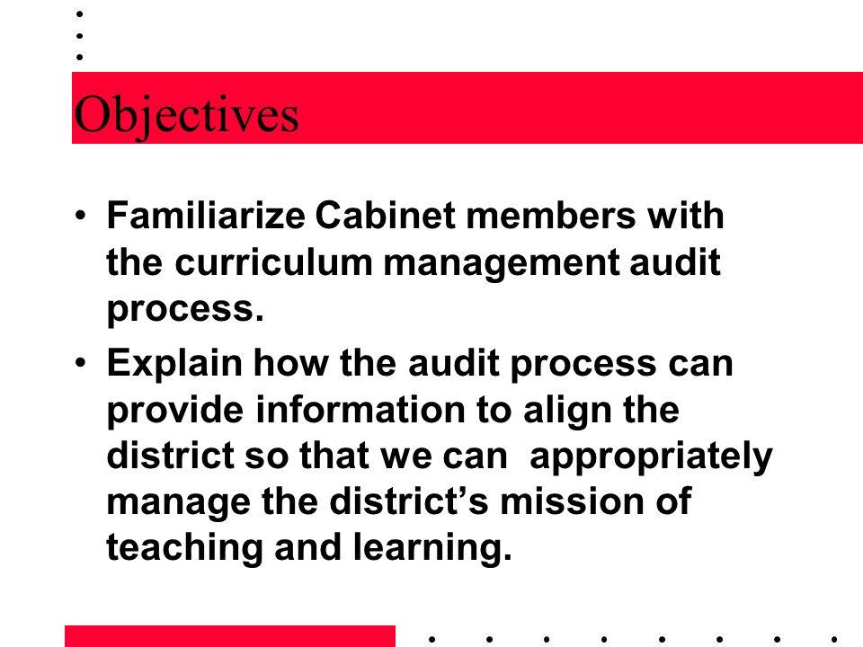 Curriculum Management Audit