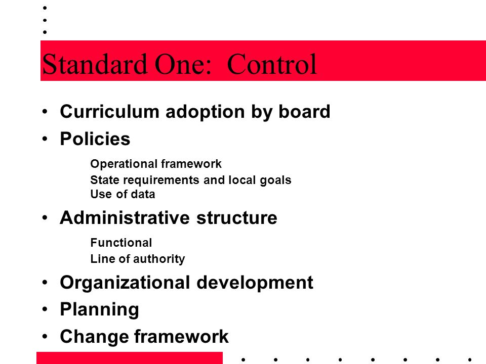 Standard Two: Direction Goals and objectives Operations to carry out goals and objectives Curriculum trends Written curriculum for all programs Contextual responsiveness Program cohesiveness Direction for superintendent and staff Curriculum planning Curricular change