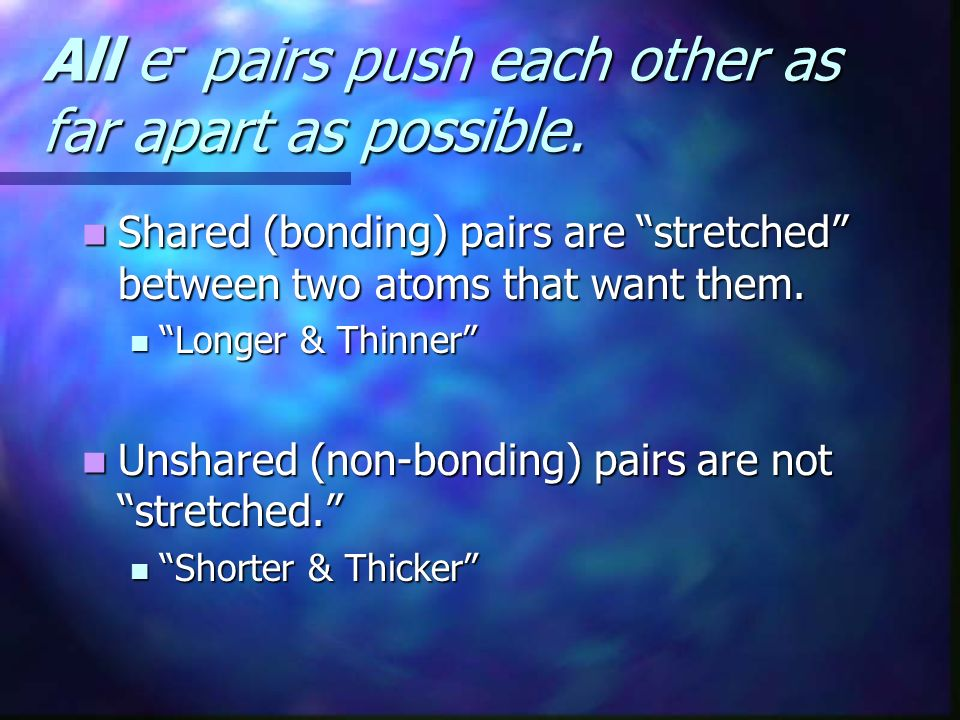 All e - pairs push each other as far apart as possible. Shared (bonding) pairs are stretched between two atoms that want them. Shared (bonding) pairs