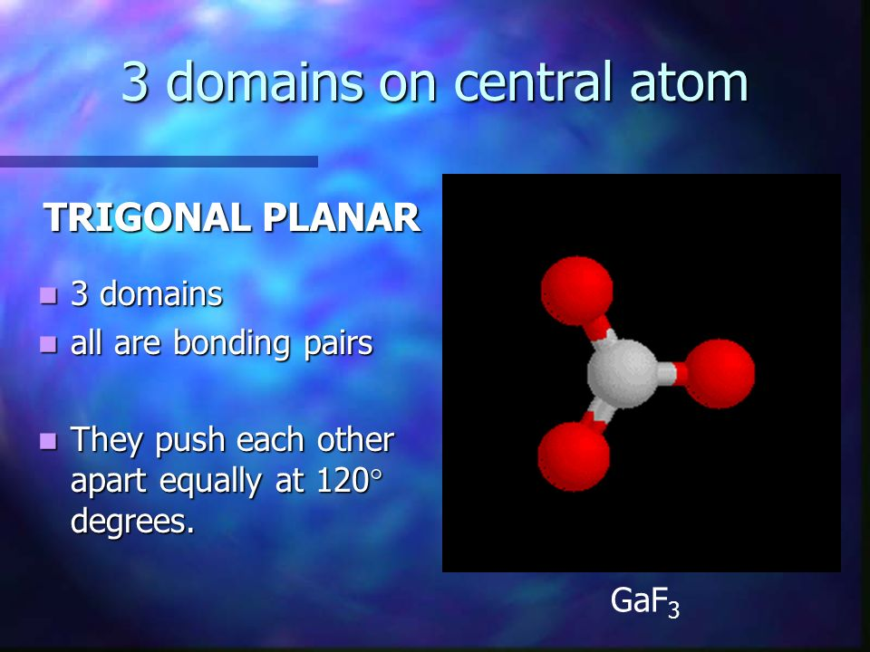 3 domains on central atom TRIGONAL PLANAR 3 domains 3 domains all are bonding pairs all are bonding pairs They push each other apart equally at 120 de
