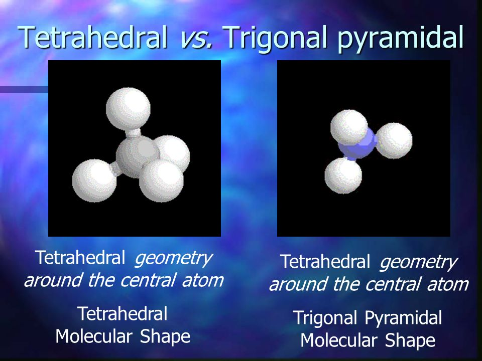 Tetrahedral vs. Trigonal pyramidal Tetrahedral geometry around the central atom Tetrahedral Molecular Shape Tetrahedral geometry around the central at