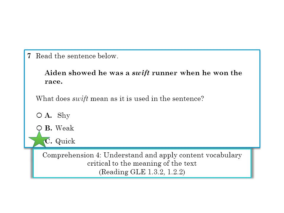 7 Read the sentence below. Aiden showed he was a swift runner when he won the race. What does swift mean as it is used in the sentence? Ο A. Shy Ο B.