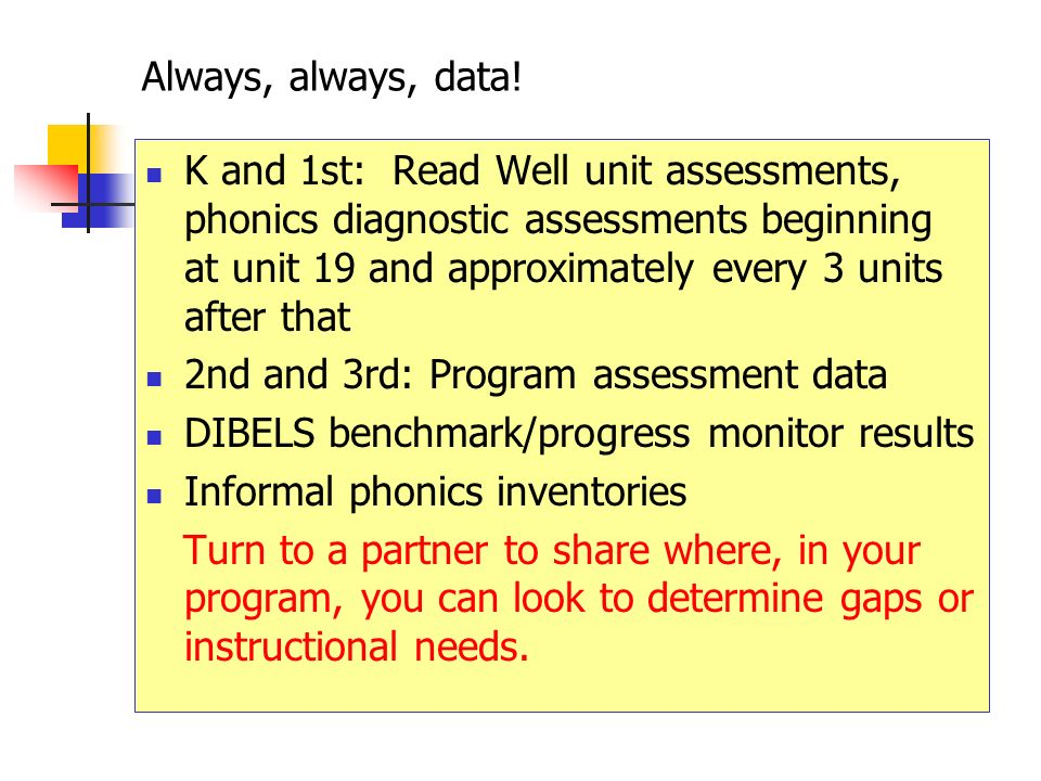 Always, always, data! K and 1st: Read Well unit assessments, phonics diagnostic assessments beginning at unit 19 and approximately every 3 units after