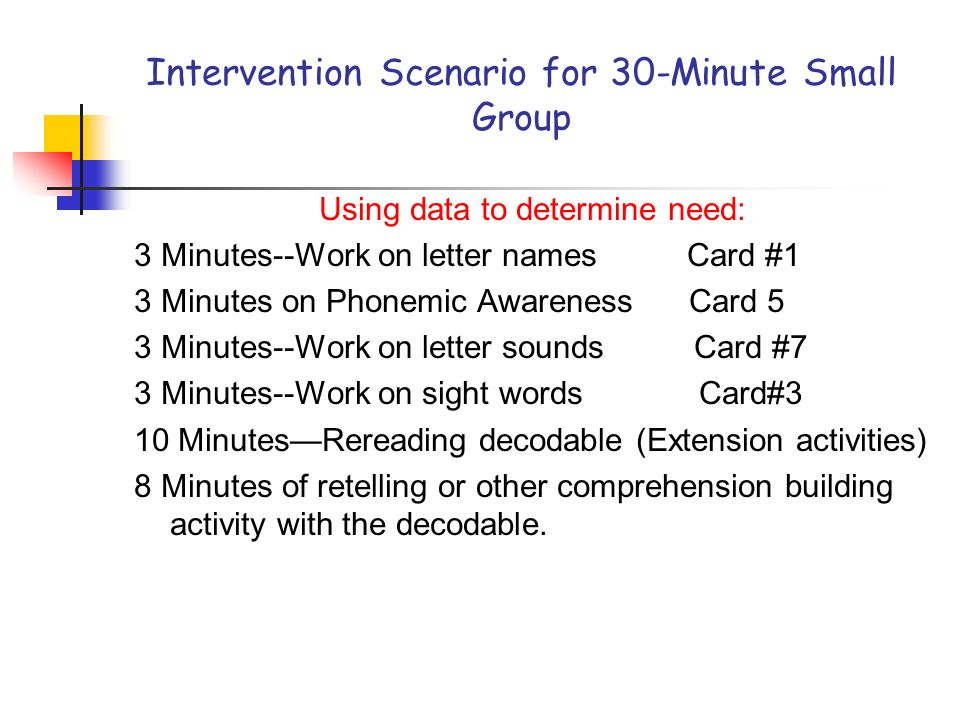 Intervention Scenario for 30-Minute Small Group Using data to determine need: 3 Minutes--Work on letter names Card #1 3 Minutes on Phonemic Awareness