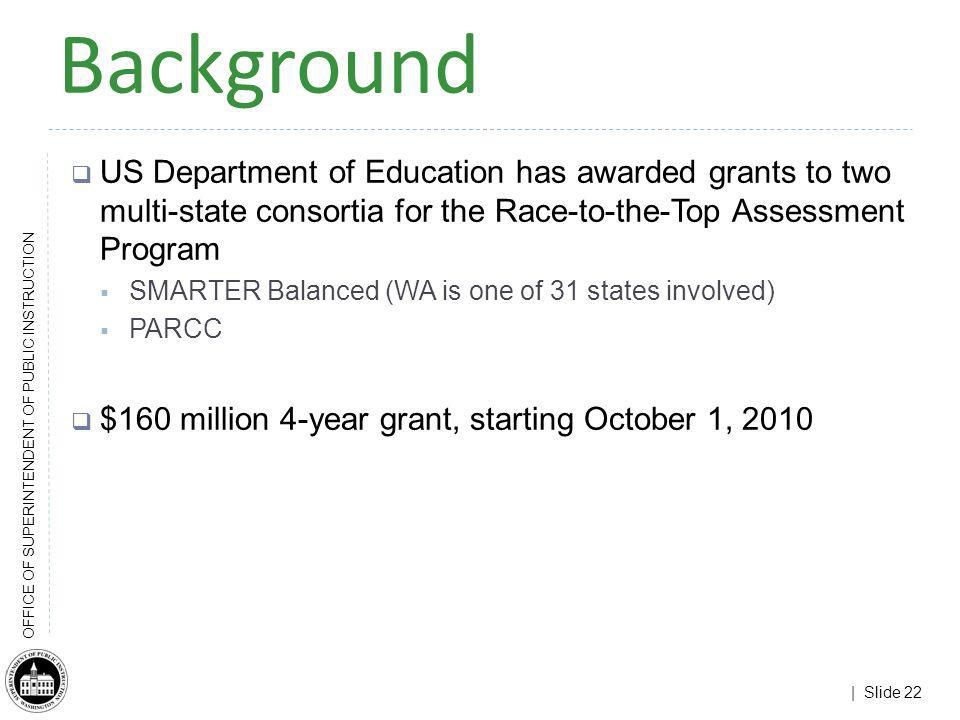 | Slide 22 OFFICE OF SUPERINTENDENT OF PUBLIC INSTRUCTION Background US Department of Education has awarded grants to two multi-state consortia for th