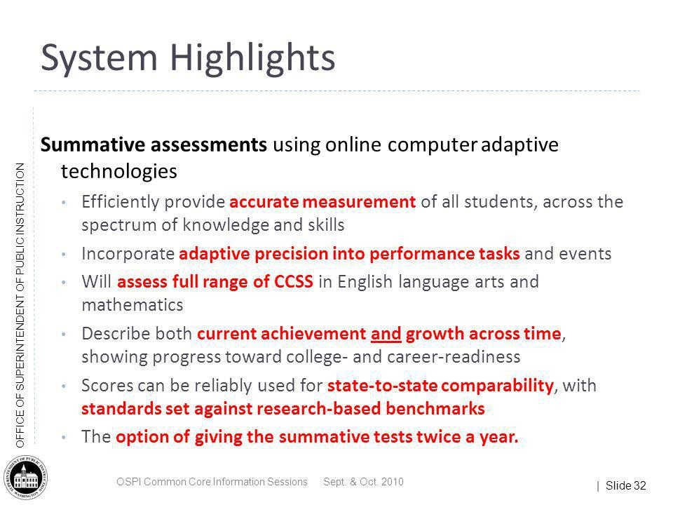 | Slide 32 OFFICE OF SUPERINTENDENT OF PUBLIC INSTRUCTION System Highlights Summative assessments using online computer adaptive technologies Efficien