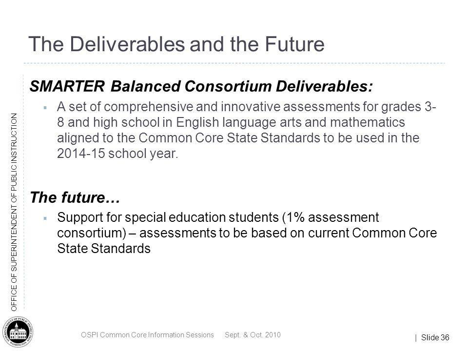 | Slide 36 OFFICE OF SUPERINTENDENT OF PUBLIC INSTRUCTION The Deliverables and the Future SMARTER Balanced Consortium Deliverables: A set of comprehen