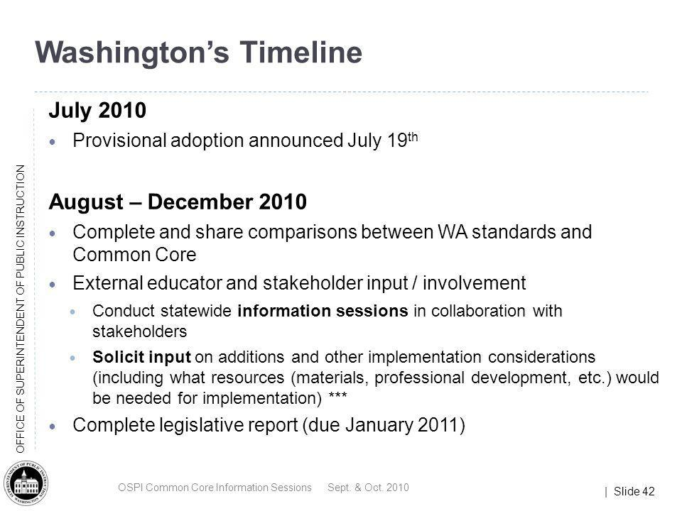 | Slide 42 OFFICE OF SUPERINTENDENT OF PUBLIC INSTRUCTION Washingtons Timeline July 2010 Provisional adoption announced July 19 th August – December 2