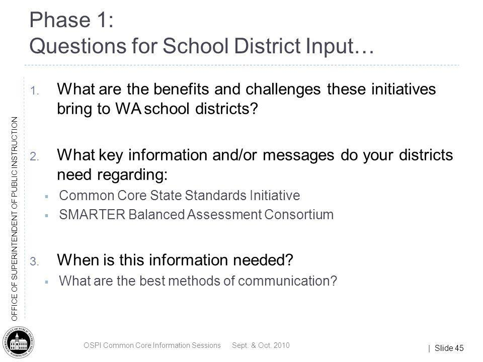 | Slide 45 OFFICE OF SUPERINTENDENT OF PUBLIC INSTRUCTION Phase 1: Questions for School District Input… 1. What are the benefits and challenges these