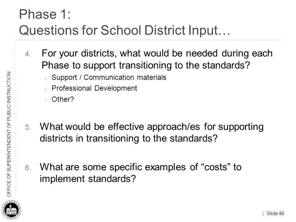 | Slide 46 OFFICE OF SUPERINTENDENT OF PUBLIC INSTRUCTION 4. For your districts, what would be needed during each Phase to support transitioning to th