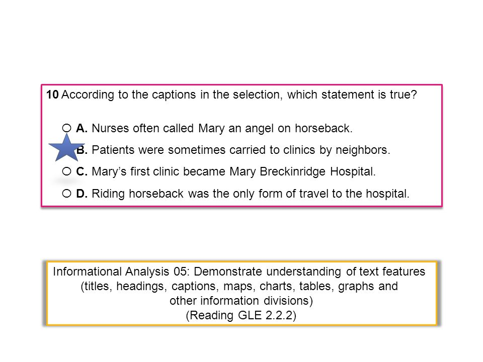 10According to the captions in the selection, which statement is true? Ο A. Nurses often called Mary an angel on horseback. Ο B. Patients were sometim