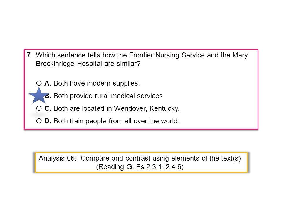 7Which sentence tells how the Frontier Nursing Service and the Mary Breckinridge Hospital are similar? Ο A. Both have modern supplies. Ο B. Both provi