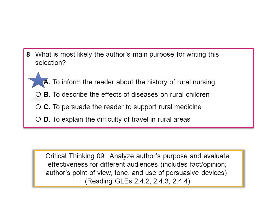 8What is most likely the authors main purpose for writing this selection? Ο A. To inform the reader about the history of rural nursing Ο B. To describ