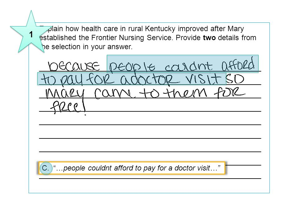 9Explain how health care in rural Kentucky improved after Mary established the Frontier Nursing Service. Provide two details from the selection in you