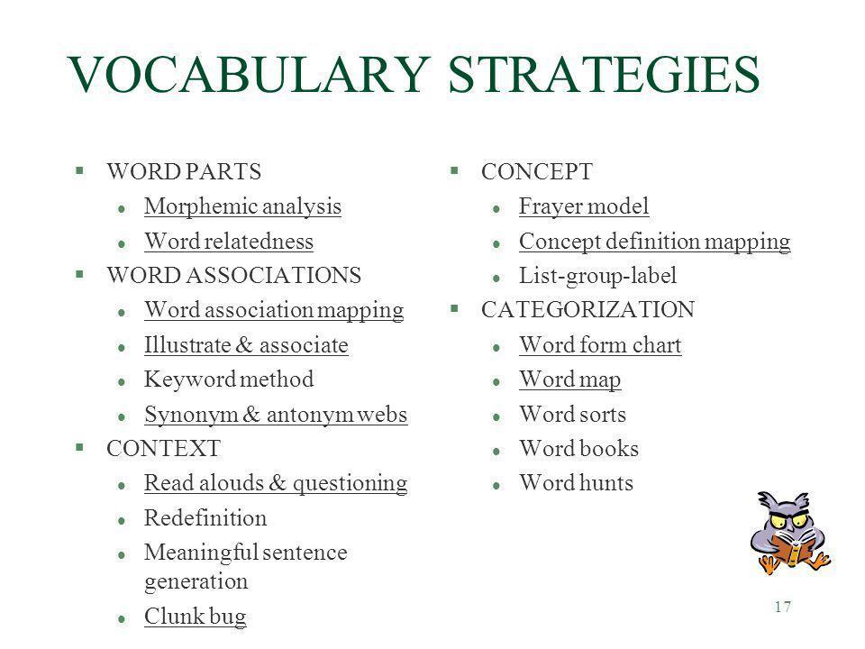 17 VOCABULARY STRATEGIES §WORD PARTS l Morphemic analysis l Word relatedness §WORD ASSOCIATIONS l Word association mapping l Illustrate & associate l