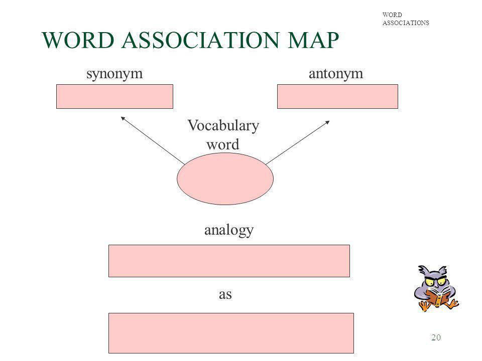 20 WORD ASSOCIATION MAP synonymantonym Vocabulary word analogy as WORD ASSOCIATIONS