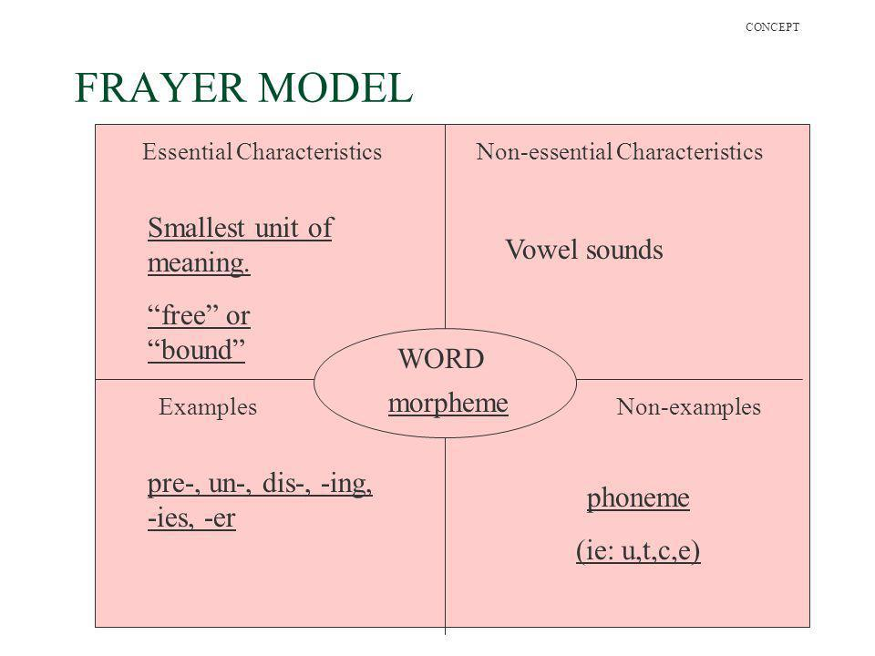 26 FRAYER MODEL WORD Essential CharacteristicsNon-essential Characteristics ExamplesNon-examples morpheme Smallest unit of meaning. pre-, un-, dis-, -