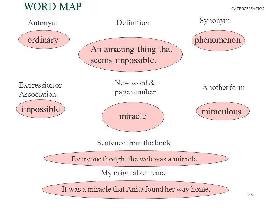 29 WORD MAP AntonymDefinition Synonym Expression or Association New word & page number Another form Sentence from the book My original sentence miracl