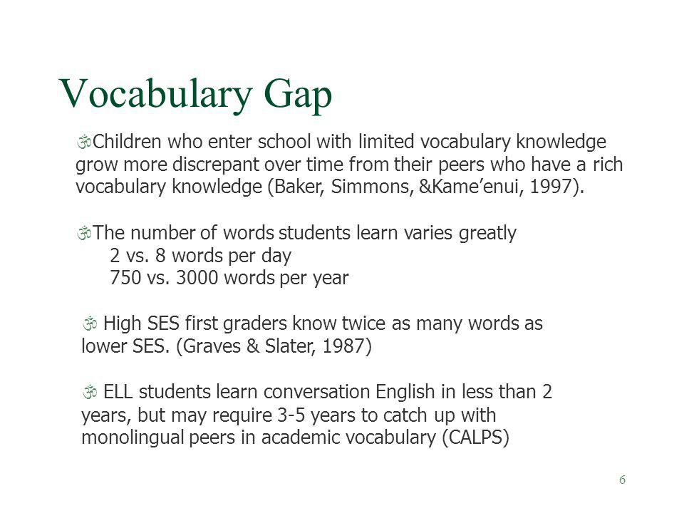 6 Vocabulary Gap \Children who enter school with limited vocabulary knowledge grow more discrepant over time from their peers who have a rich vocabula