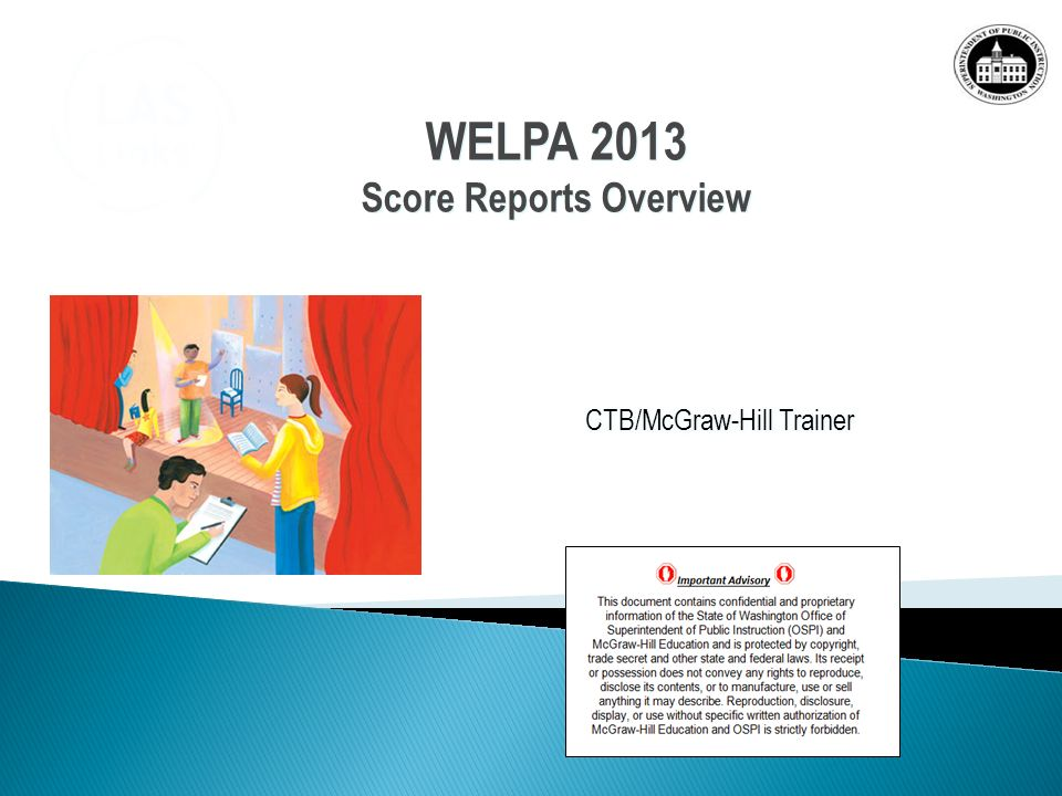 CTB/McGraw-Hill Trainer WELPA 2013 Score Reports Overview WELPA 2013 Score Reports Overview